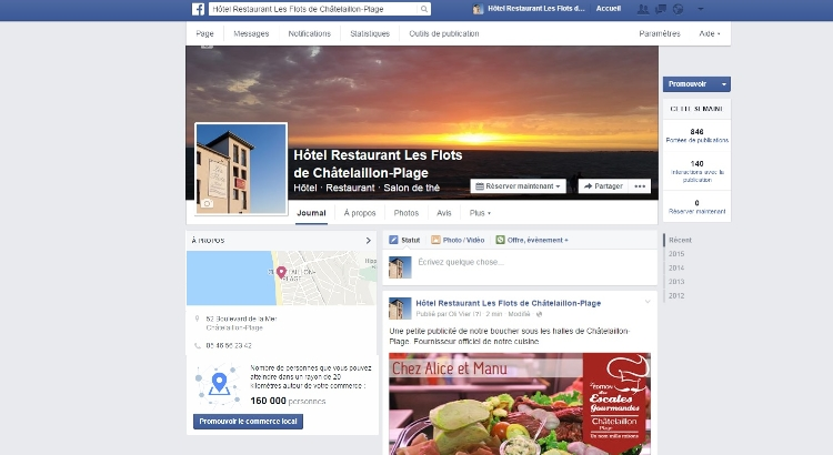 Page facebook Hôtel Clarion Collection Les Flots